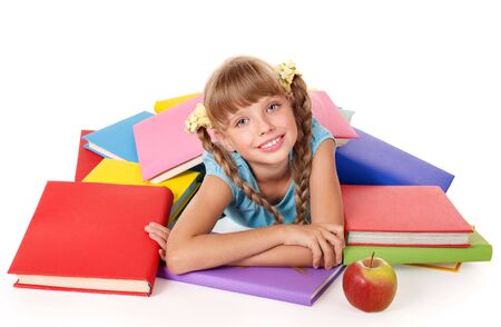 Little girl with pile of books and apple. Isolated. Stock Photo - 8116415
