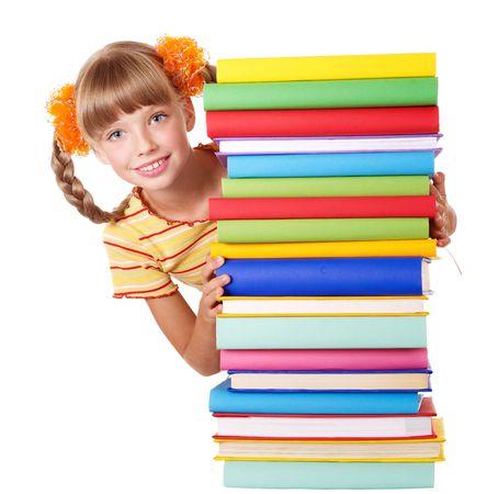 Schoolgirl  holding pile of books. Isolated. photo