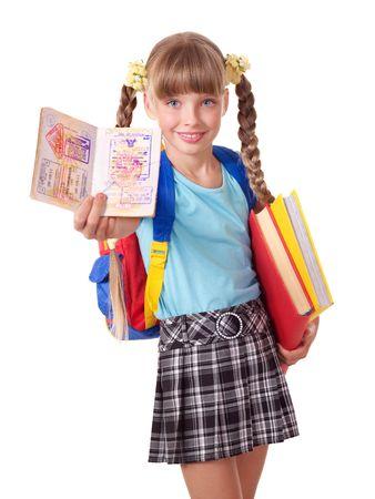 schulm�dchen: Kind mit Haufen von B�cher und Reisepass. Ausl�ndische Bildung. Lizenzfreie Bilder