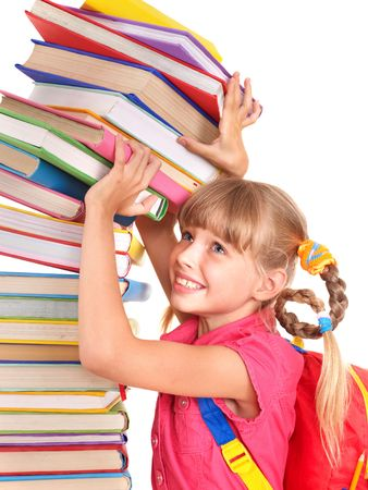 Child with pile of books. Isolated. photo