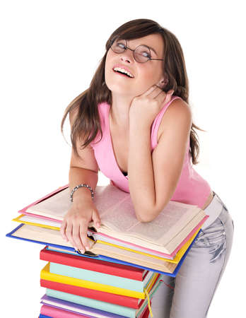 Girl with pile colored book . Isolated. photo