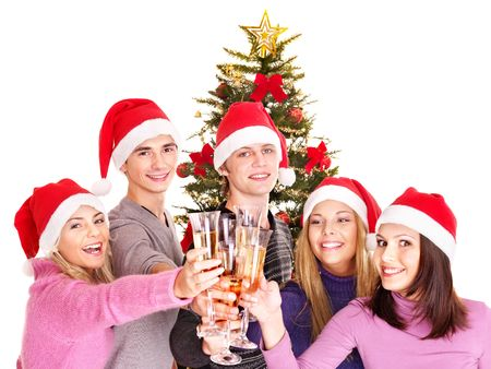 Group young people in santa hat drink champagne.  photo