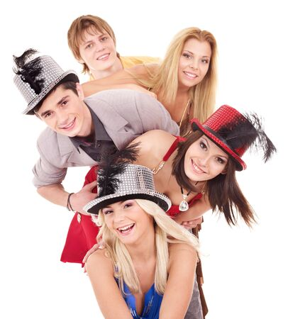 party hat: Group young people in party hat. Isolated. Stock Photo