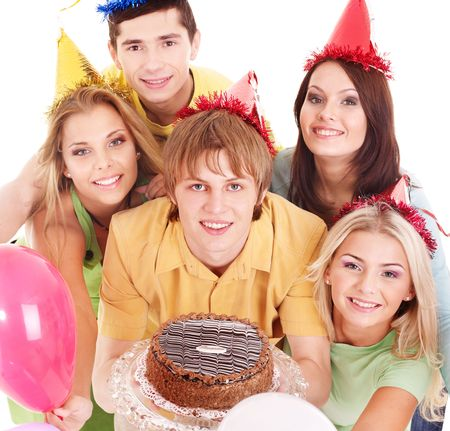 Group people holding cake. Isolated. photo