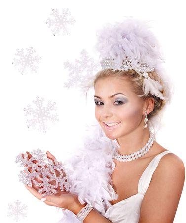 Young beautiful woman holding snowflake. Fashion studio shot. Stock Photo - 8116512