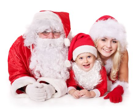 산타 모자: Santa claus family with child. Isolated. 스톡 사진