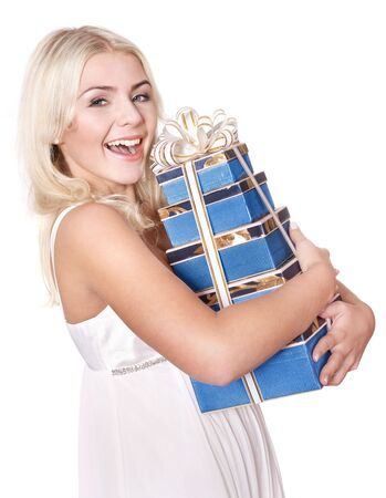 Beautiful girl with stack  gift box.  Isolated. photo