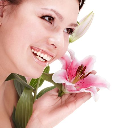 beauty parlour: Beautiful young woman with flower. Fashion and beauty.