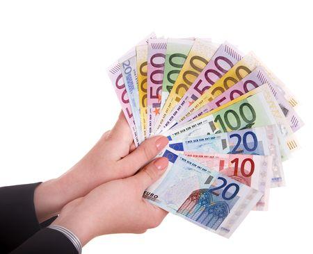 banconote euro: Euro di denaro in mano. Isolato.  Archivio Fotografico