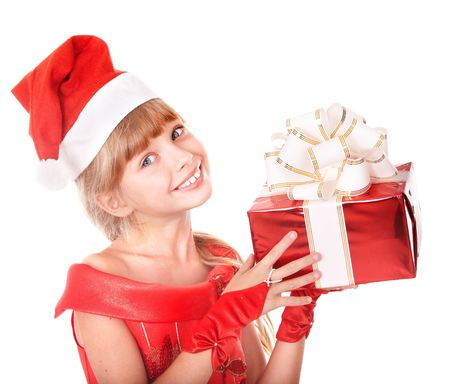 red gift box: Little girl in santa hat holding red gift box.  Isolated.