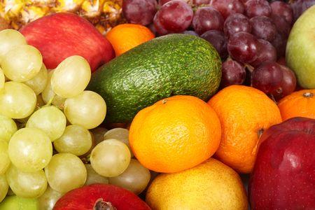Close up of pile fresh fruit.  photo