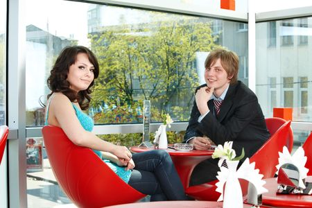 Couple on date in restaurant. Love. photo