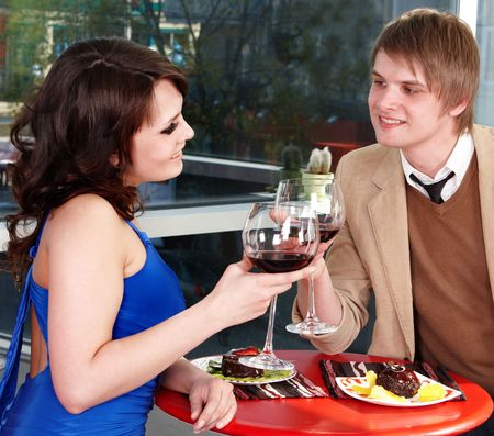 Couple on  date in restaurant. Romantic evening. photo