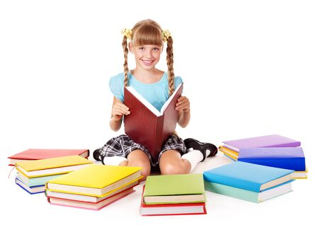 Child with pile of books  reading on floor. Isolated. Stock Photo - 8239273