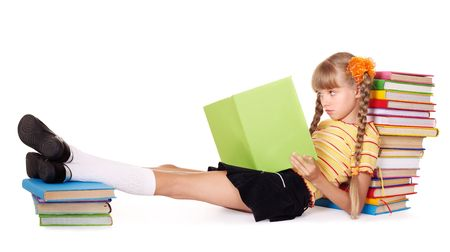 Little girl  reading  pile of books. Isolated. Stock Photo - 8239254