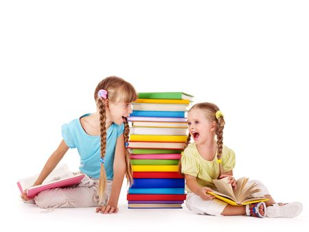 Children  crying at each other near pile of book. Isolated.