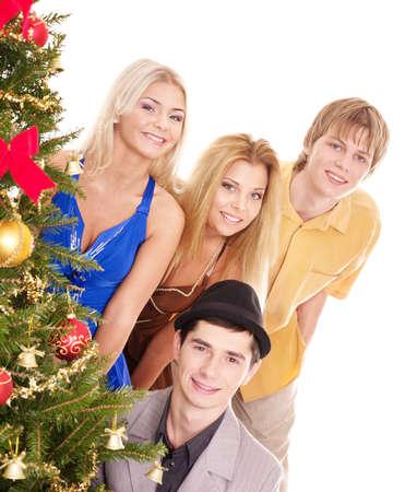 Group people near christmas tree. Isolated. photo