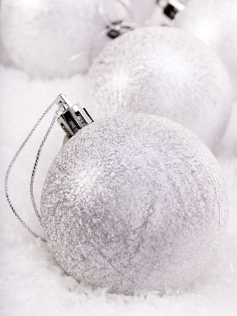 Group of christmas ball in snow. Stock Photo - 8227257