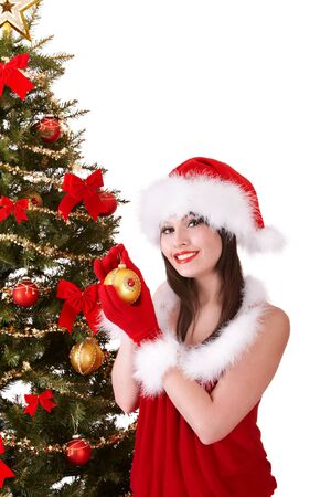 Girl in santa hat holding  christmas ball.  Isolated. Isolated. Stock Photo - 8405054