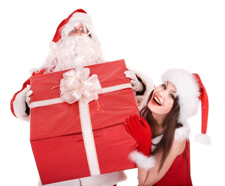 Santa claus and christmas girl with big gift box. Isolated. photo