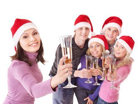 산타 모자: Group young people in santa hat drinking champagne. Isolated.