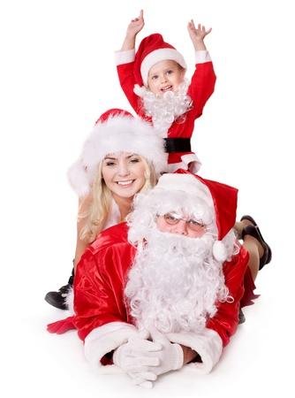 De familie van de Kerst man met kind. Geïsoleerd. Stockfoto