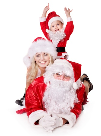Santa claus family with child. Isolated. Stock Photo