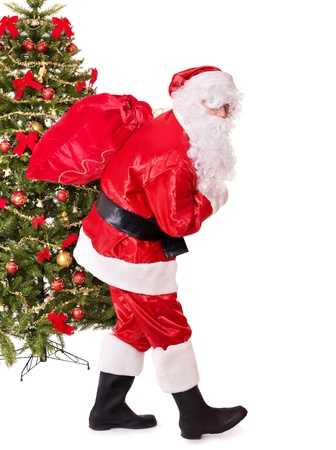 Santa claus  carrying sack by christmas tree.  Isolated. photo