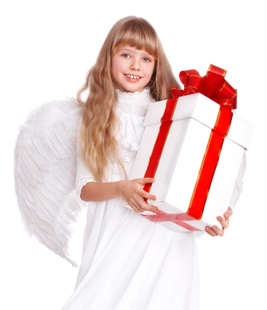 Angel little girl  with gift box. Isolated. photo