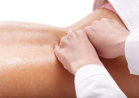 Massage of female back. Health and beauty. photo