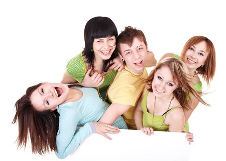 Group of people take banner.Isolated. Stock Photo - 8332718