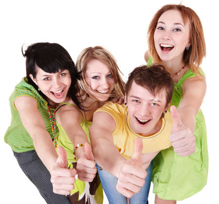 Group people of teenager. Isolated. Stock Photo - 8332636