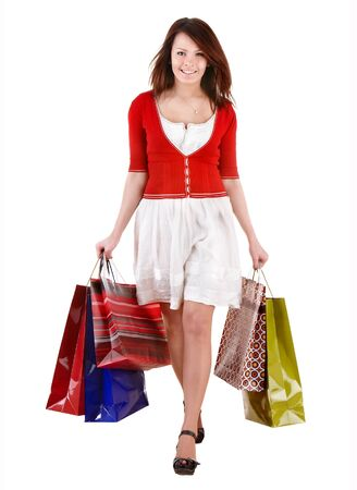 Shopping girl with group bag. Isolated. Stock Photo - 8332582