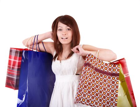 Shopping girl with group bag. Isolated. photo
