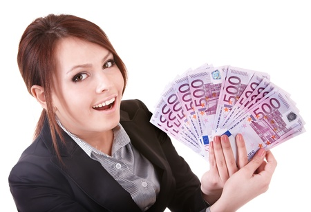 billets euros: Young woman holding euro money.  Isolated.