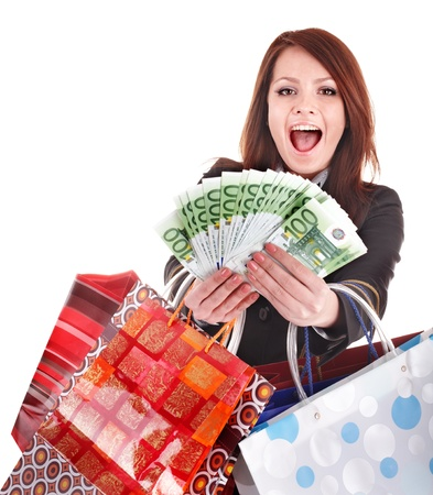 Business woman with money and shopping bag. Isolated. photo