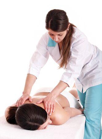 masseuse: Beautiful young woman  having  massage.