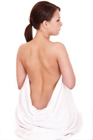 salon beaut�: Retour de traitement de la douleur de la jeune femme. Soins du corps. Banque d'images