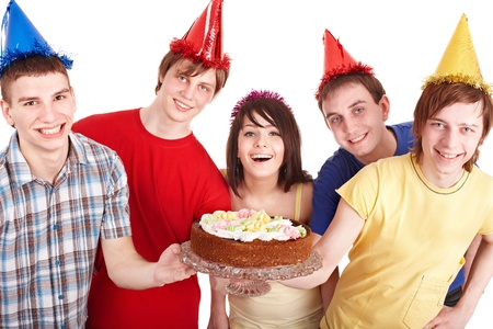 Group people eat cake. Isolated. photo