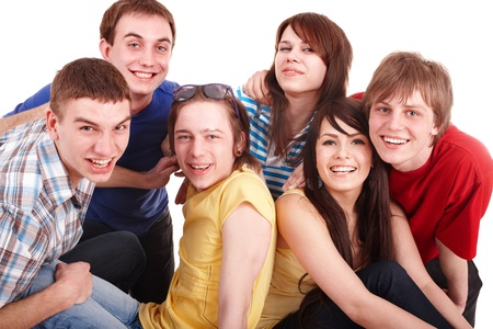 Group of happy young people. Isolated. photo
