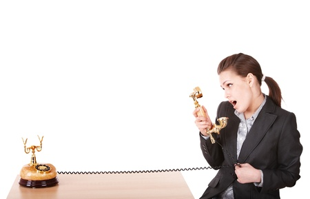 Happy businesswoman  with golden  phone. Isolated. Stock Photo - 8332611