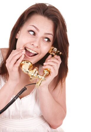 Young beautiful woman with phone. Isolated. Stock Photo - 8332712