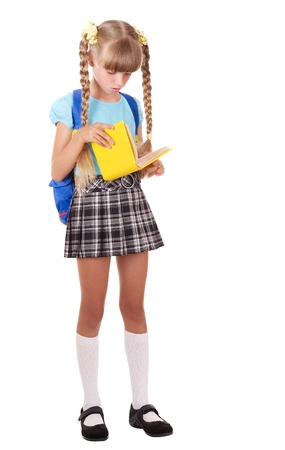 Girl School: Little girl with backpack reading  book. Isolated. Stock Photo
