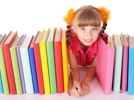 Little holding pile of colored  book. Isolated. Stock Photo - 8332928