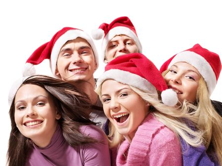 adult christmas: Group young people in santa hat. Isolated. Stock Photo