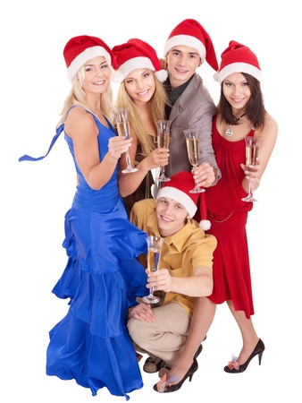 Group young people in santa hat. Isolated. Stock Photo
