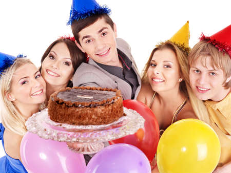 Group people in party giving cake. Isolated. photo