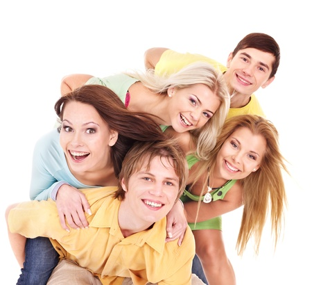 group of teens: Group of people on white.Tenager girl and teenager boy. Stock Photo