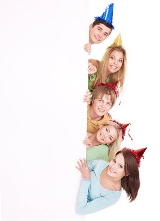 party hat: Group of happy people in party hat holding banner. Isolated.