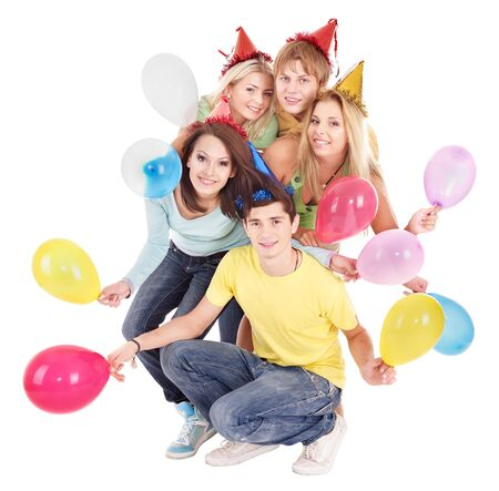 party hat: Group of young people in party hat holding balloon. Isolated.